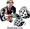 Vector Clip Art graphic  of a Man rolling the dice/risk