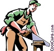 Vector Clip Art graphic  of a carpenter cutting wood