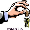 man holding a set of keys Vector Clipart picture
