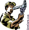 Vector Clipart image  of a plumber working on a pipe