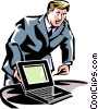 man pointing to a laptop/notebook computer Vector Clipart picture