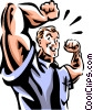 man flexing his muscles Vector Clipart picture