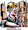 warehouse worker talking on a walkie-talkie Vector Clipart image