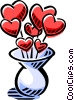 vase full of hearts Vector Clip Art image