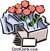 Vector Clip Art image  of a box of roses