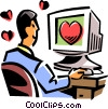 man looking for romance on the internet Vector Clip Art graphic