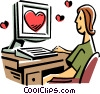Vector Clipart image  of a looking for romance on the internet