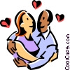 Loving couple hugging Vector Clipart picture