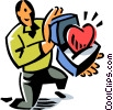 man with a heart in a box Vector Clipart picture