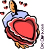 Vector Clipart graphic  of a heart shaped box of chocolates