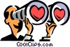 man looking through binoculars and seeing hearts Vector Clipart illustration