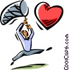 Vector Clip Art image  of a person trying to catch heart