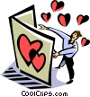 Vector Clipart illustration  of a man reading a Valentine's day