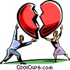 couple putting a heart back together Vector Clipart picture