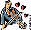 Vector Clipart graphic  of a violinist playing romantic