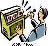 Man playing a slot machine Vector Clipart graphic