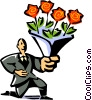 Vector Clipart picture  of a man with a bouquet of roses