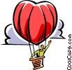 Vector Clip Art image  of a man in a heart shaped hot air