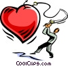 man with a fishing pole catching a heart Vector Clipart illustration
