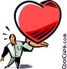 Vector Clip Art graphic  of a man with an oversized heart in