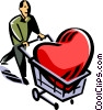 Vector Clip Art graphic  of a man with a heart in a shopping