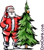 Santa standing beside a Christmas tree Vector Clip Art graphic