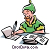 Elf writing Christmas cards Vector Clip Art graphic