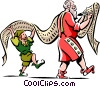 Vector Clip Art image  of a Santa and an Elf with a