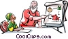 Santa and an Elf making final packing plans Vector Clip Art picture