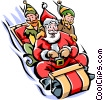 Vector Clipart graphic  of a Santa and his elves on a
