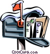 Vector Clip Art image  of a mailbox covered in snow with