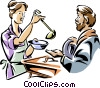 woman working in a soup kitchen serving meals Vector Clipart picture