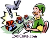 Vector Clip Art graphic  of a Elf working on the toy