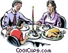 Vector Clipart picture  of a family saying Grace before a meal