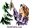 Vector Clip Art image  of a girl hanging a Christmas