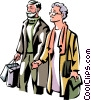 older couple Christmas shopping Vector Clipart illustration