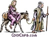 Vector Clip Art picture  of a Mary and Joseph headed to