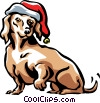 Vector Clipart picture  of a dog with a Christmas hat on