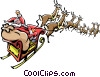 Santa and reindeer Vector Clipart illustration