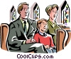 family sitting in church Vector Clip Art graphic