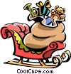 Santa's sleigh with sack of toys Vector Clip Art image