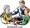 Vector Clipart picture  of a family exchanging gifts with