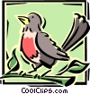 Vector Clipart graphic  of a robin on a branch