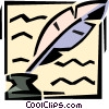 quill pen and ink well Vector Clip Art picture