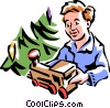 Vector Clipart graphic  of a boy at Christmas with new toy