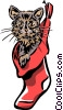 cat in a Christmas stocking Vector Clipart illustration