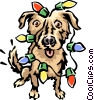Vector Clip Art image  of a Dog covered in Christmas