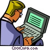 Vector Clipart picture  of a man working on a laptop
