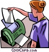 woman sending/receiving a fax Vector Clipart illustration