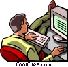 Vector Clip Art image  of a man with his feet up